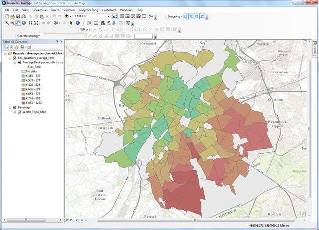 Inlezen van de data in ArcGIS Desktop
